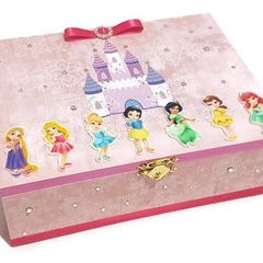 Little Princesses Keepsake Trinket Treasure Jewellery Wooden Box - Pink Shimmer