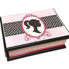 Silhouette in Pink Keepsake Trinket Treasure Jewellery Memory Wooden Box