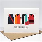 Birthday Card Male - Happy Birthday - AFL Footy Jerseys - HBM074