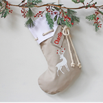 Large Personalised Christmas Stocking in Stone with Reindeer