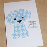 Boys or Girls Birthday card - origami puppy dog  - can be personalised!