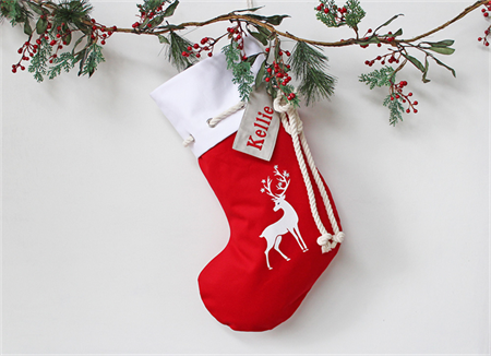 Large Personalised Christmas Stocking Red Reindeer