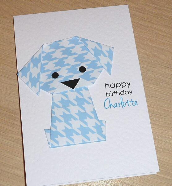 Boys Or Girls Birthday Card Origami Puppy Dog Can Be