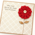 Christmas custom card red burlap bloom kraft