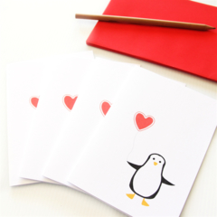 FREE POST | 4 Blank Note Cards | Penguin | Birthday, Thank You, Invitations