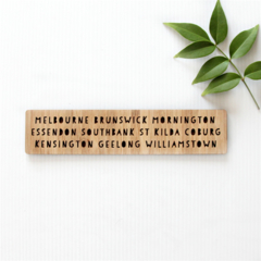 Melbourne Souvenir Bookmark, Bamboo Bookmark of Melbourne Suburbs
