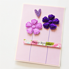 Birthday card   Purple Fabric Flowers   Friend Mum Sister Daughter Nanna Nanny
