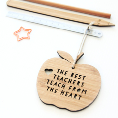 Teacher Thank You Gift,  Bamboo Apple Decoration, Christmas Ornament