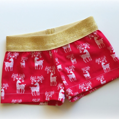 Reindeer Sparkly Christmas Girls Shorty Shorts Size 2