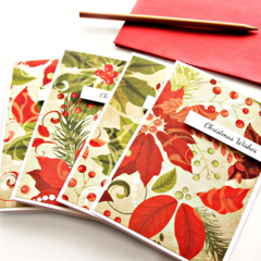 4 Poinsettia Christmas cards | FREE POST | Happy New Year Holiday