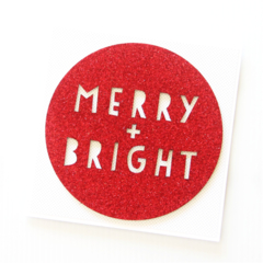 Handmade Christmas Cards, Merry and Bright, Red Glitter