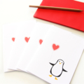 4 Blank Cards, Penguin, Birthday Card, Thank You Card, Invitations, Notecards