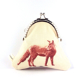 SALE Woodlands forest fox dog coin purse clutch.