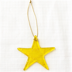Unique Fused Glass Yellow and Gold Star - Sun Catcher - Xmas Deco