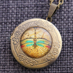 Dragonfly Glass Locket Necklace