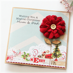 Christmas Personalised card red burlap bloom kraft custom magical Christmas