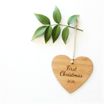 1st Christmas decoration  2016 ornament bamboo personalised first bamboo