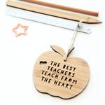 Teacher Gift Decoration thank you ornament bamboo the best teachers teach apple