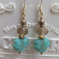 Turquoise Maple Gold Leaf with Smokey Quartz Crystal Earrings