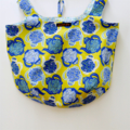 Reversible cotton market bag with teapot design in blues and yellow