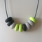 Trio polymer clay necklace in black, granite and light green