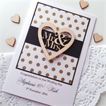 XLARGE CUSTOM Wedding Day black gold glitter lasercut wooden heart Mr & Mrs card