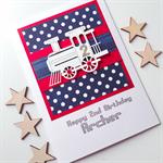 XLARGE custom design happy birthday train lasercut navy blue red polka dot card
