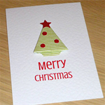 Set 4 Christmas cards - origami Christmas trees