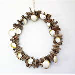 Christmas Driftwood Wreath   with gold glitter dipped shells