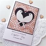 Wedding Day XLARGE CUSTOM black kraft lovebirds heart Mr & Mrs card