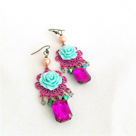 shabby rose chandelier earrings, dark pink and teal aqua