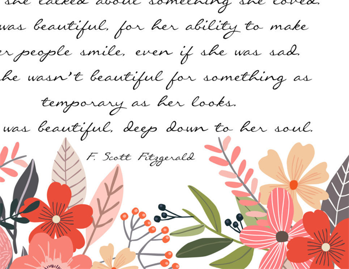 F Scott Fitzgerald Fitzgerald Quote She Was Beautiful Gift For