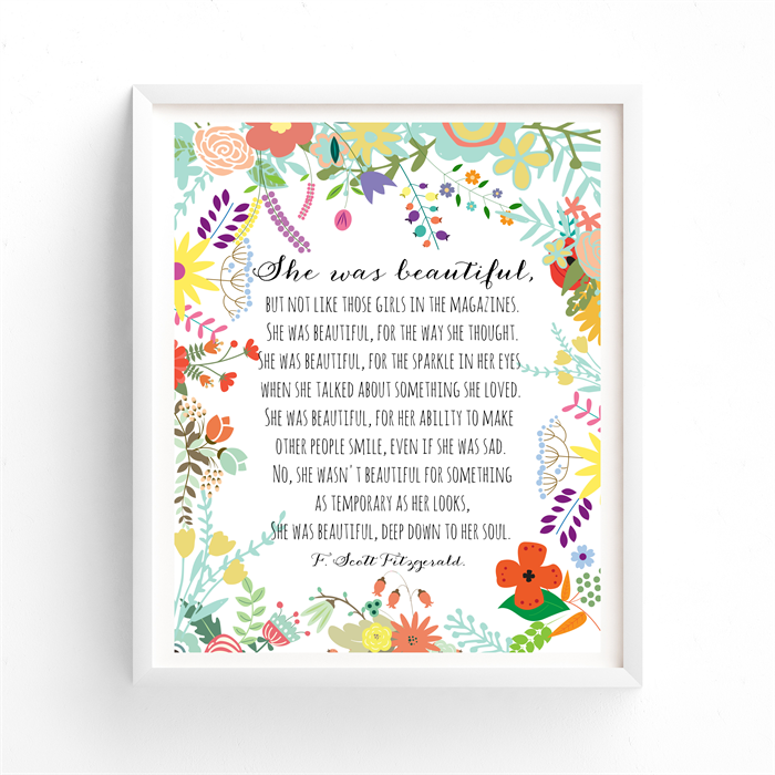 She Was Beautiful F Scott Fitzgerald Quote Printable Art