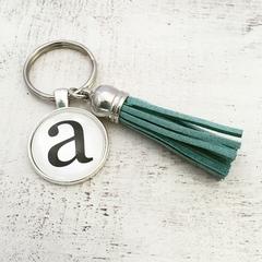 Small custom initials - tasseled key ring