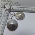 Antique Silver Round Point Charm Earrings -drop earrings hang 4.5cm long on nick