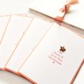 4 Handmade Christmas Cards, Joy Peace Love, Happy New Year Card