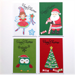 Christmas cards - 4 pack - Santa, Fairy, Tree, Owl