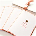 Christmas card tree bamboo star peach joy peace love happy new year