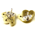 Brass Flower Earrings with Sterling Silver Posts