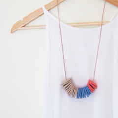 Stone ~ Denim ~ Coral - Polymer Clay Necklace