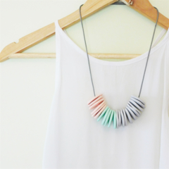 Peach - Mint - Grey Clay Disc Necklace