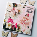 Vintage pink happy birthday best floral dance dancing girl butterfly card