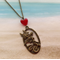Bronze Mermaid Charm Red Heart Bead Chain Necklace Pendant Beach Jewellery