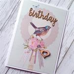 Gold glitter birthday vintage bird floral wooden lasercut heart her friend card