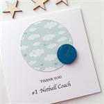 Thank you #1 netball COACH ball sport star team card
