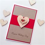 Wedding Day congratulations kraft red wooden lasercut heart love card