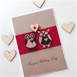 Wedding Day congratulations love owls wooden lasercut heart kraft red card