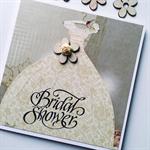 Bridal shower bride to be gown vintage floral damask mocha flower wooden card