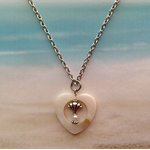 Mother of Pearl Heart Shell Spacer Pearl Bead Chain Necklace Pendant