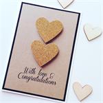 Love & congratulations gold glitter heart kraft black card